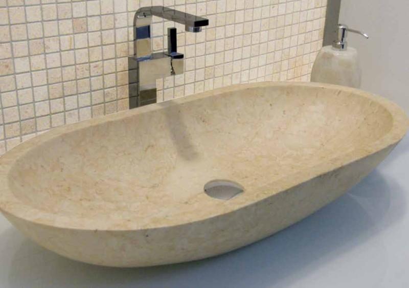 Polished Beige Marble Oval Stone Basin 70 Cm X 35 Cm X 13 Cm