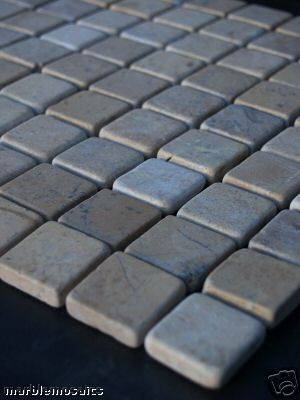 Beige Tumbled Marble Mosaic Tiles 30 Mm X 30 Mm