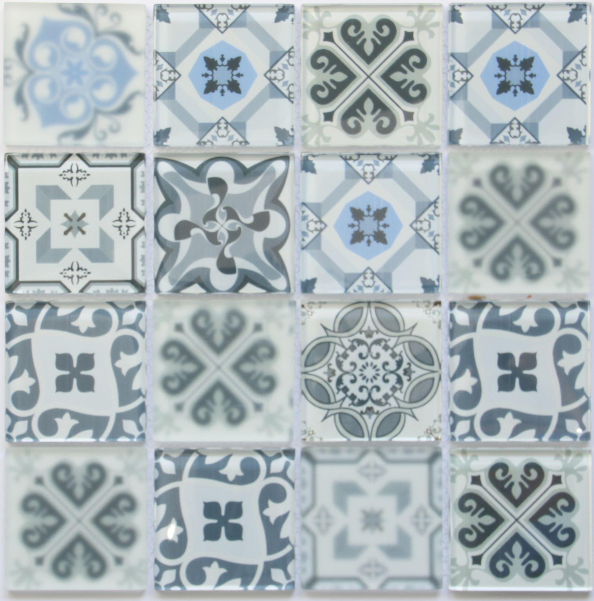 BLUE WHITE & GREY MURCIA ENCAUSTIC GLASS MOSAIC TILE