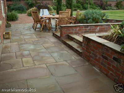 Calibrated Autumn Brown Indian Sandstone Paving Patio Packs