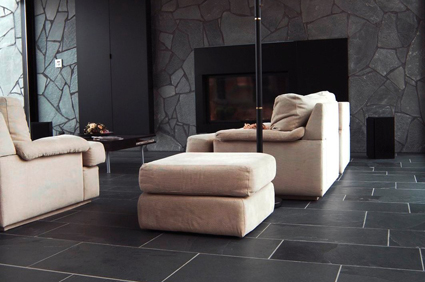 Calibrated Brazilian Black Extra Large Riven Slate Flooring 900 Mm X 600 10