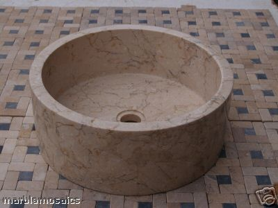 Cream Natural Stone Marble Wash Basin 40cm Drum Sink