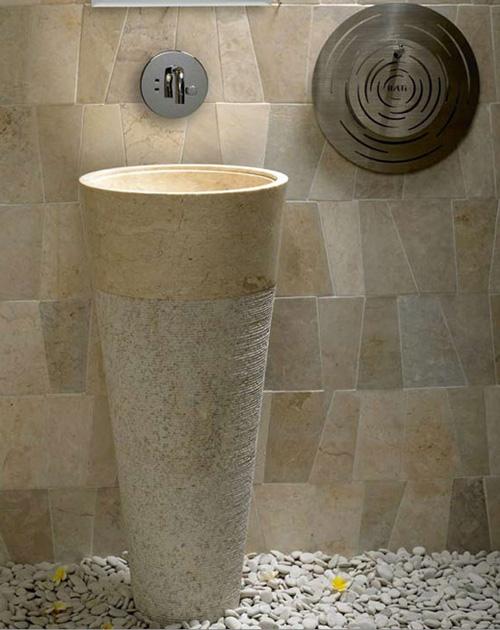 Free Standing Pedestal Sink Cream Marble Bathroom 90 Cm X 40 Cm Cono Model