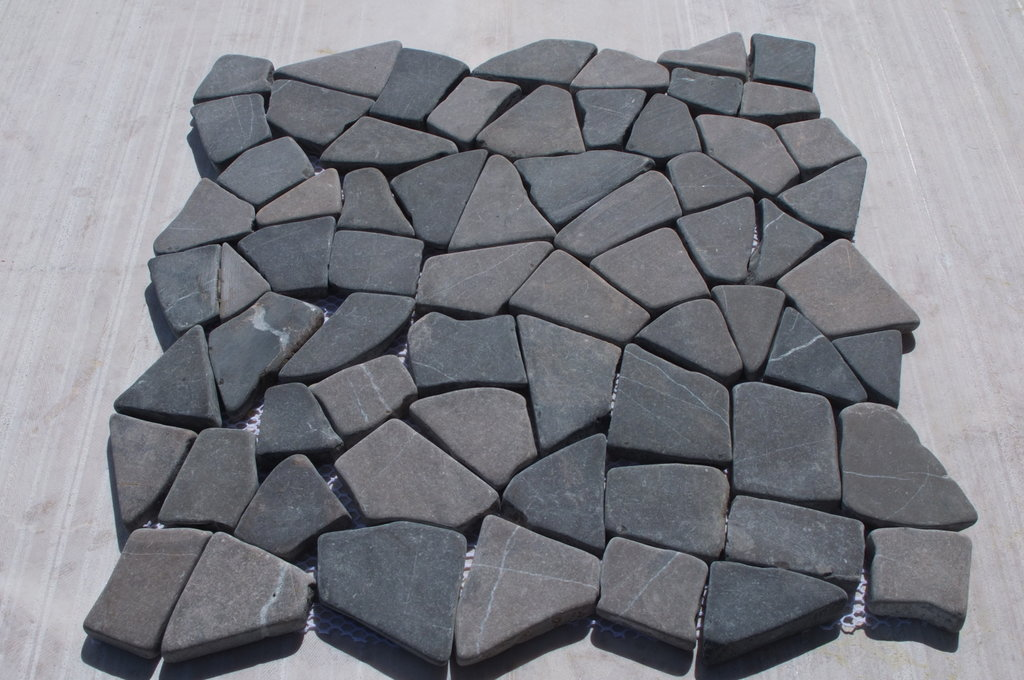 Grey Tumbled Interlocking Marble Mosaic wall floor tiles
