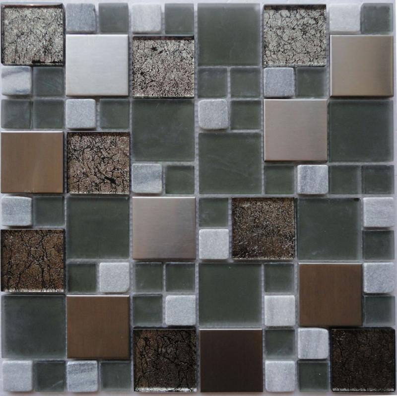 Metallic Modular Metal Stone Amp Glass Mosaic Cp1320 Tile