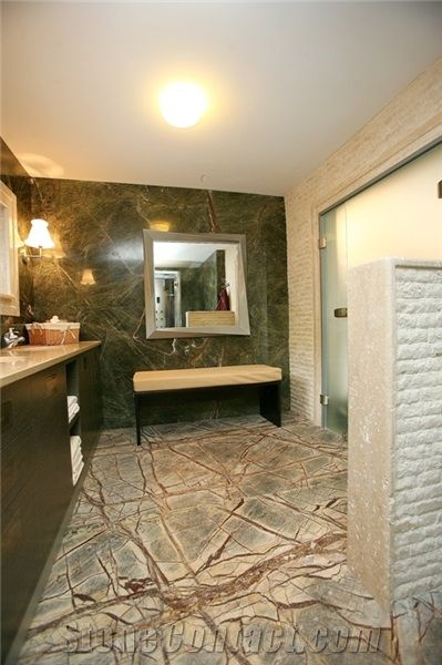 Rainforest Green Large Marble Tiles 610 mm x 610 mm x 20 mm Floor or