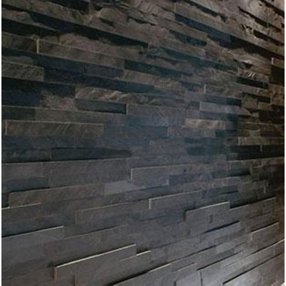 Black Slate Kitchen Tiles: Sample Black Slate Split Face Mosaic Tile