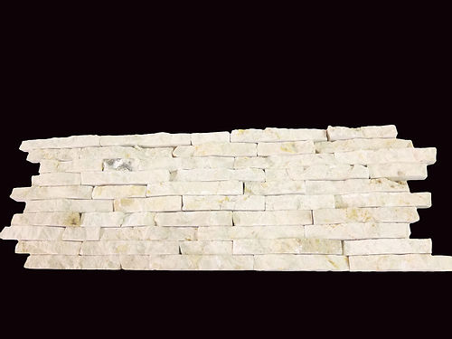 Split Face Mini Mosaic Tile Ledge Stone White Cream